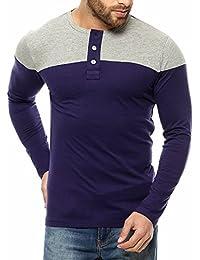 Gritstones Navy/Grey Melange Full Sleeve Round Neck T-Shirt
