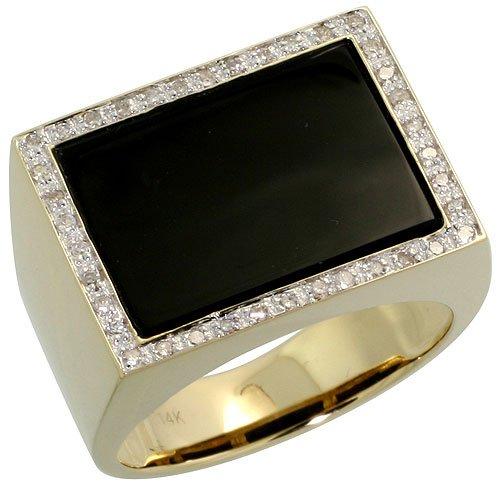 14k Gold Men s Ring w Square shaped Black yx Stone & 0 24