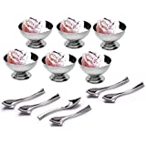 Dynore 12 Piece Set Of Ice-cream Cups With Ice Cream Spoon - 6 Piece Each