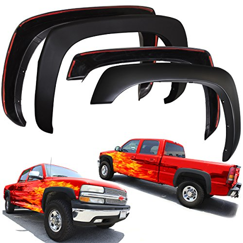 OxGord Fender Flares for 99-06 Chevy Silverado, Avalanche, Suburban and GMC Sierra, Yukon XL – Set of 4 Factory OE Style Re-Paintable Matte Black – Hardware Kit Included
