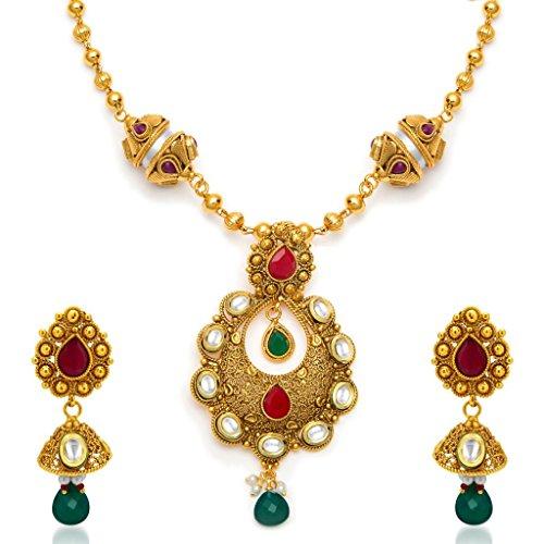 Sukkhi Traditionally Antique Gold Plated Kundan Necklace Set