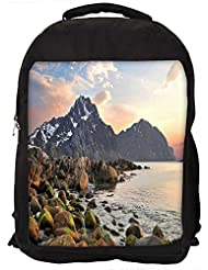 """Snoogg Rocks On The River Side Casual Laptop Backpak Fits All 15 - 15.6"""" Inch Laptops"""