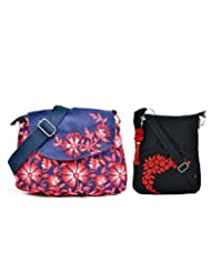 Combo Of Denim With Red Floral Print Side Sling With Black Small Side Bag.