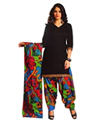 Namaskaar India Black & Green Printed Salwar Suit Dupatta Material For Women