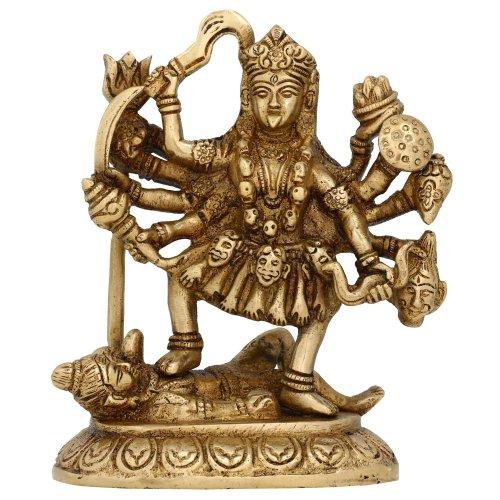 Hindu Goddess Kali idolo per casa statua di ottone simbolo Induismo 15,24...
