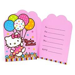 Amscan Hello Kitty Balloon Dreams Die-Cut Invitations, 8-Count