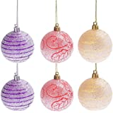 Generic Pack Of 6 Glitter Christmas Balls Baubles Holiday Tree Hanging Ornaments 6cm
