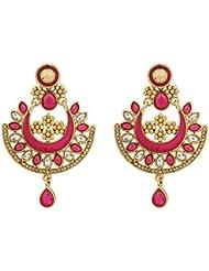 R18Jewels-Fashion&U Princess Anushka Gold Metal Pink / Rani Enamel & Stones - Chandbali Kundan Earrings For Women...