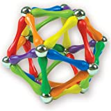 BEGINNER Pack: Rainbow (61 pieces) Goobi Magnetic Construction Set.  Contains 35 mixed rainbow color bars, 18 spheres and 8 tripods.