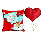 MeSleep Blue Happy Valentine Cushion Cover (16x16) With Free Heart Shaped Filled Cushion And Pendant Set