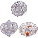 GS MUSEUM Silver Plated Rani Kumkum Plate, Silver Plated Pan Kumkum Plate And Silver Plated Roli Chawal Orange...