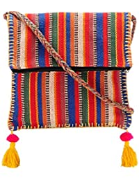 The House Of Tara Boho Chick Crossbody Bag In Handloom Fabric HTCB 044