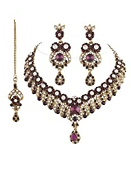 I Jewels Traditional Gold Plated Stone Necklace Set With Maang Tikka For Women