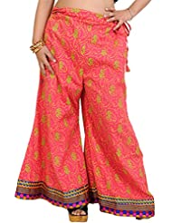 Exotic India Palazzo Pants From Pilkhuwa With Printed Paisleys And Patch Border