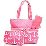 Quilted Fuchsia Color Nautical Anchor Theme Print Monogrammable 3 Piece Diaper Bag With Changing Pad Tote Bag