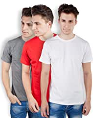 TOMO Men's Cotton Solid Color Round Neck T-shirt Combo Pack Of 3 - B00ZRLP3QS