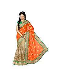 Firstloot Orange And Beige Viscose Butti And Net Embroidered Saree - B00T6A4F3I