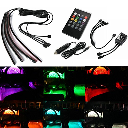 GD-Lighting 4pcs Multi-Color 7 Color LED Interior Underdash Lighting Kit, With Sound Active Function and Wireless Remote Control