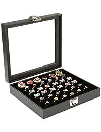 H&S Glass Lid 36 Ring Jewellery Display Storage Box Tray Case Stand - Black â?¦