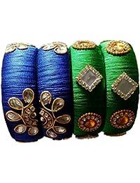 Mounika Creations Silk Thread Blue & Green Color Bangles For Women