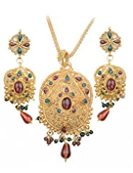 Asian Pearls & Jewels Designer Pendant Set - B00NME5I30