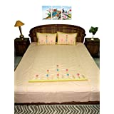 Amita's Home Furnishing Light Pink Color Hand Embroided BedSheet With 2 Pillow Cover