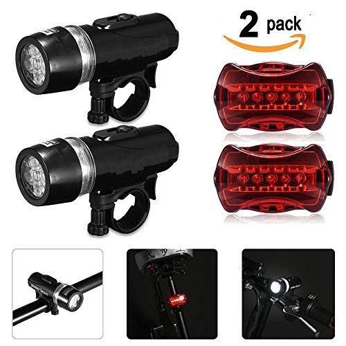 Bike Light Set, SQDeal [2 Pack] [U.S. Warranty] Waterproof 5 LED Lamp Bicycle Front Headlight + Rear Safety Taillight Flashlight Set