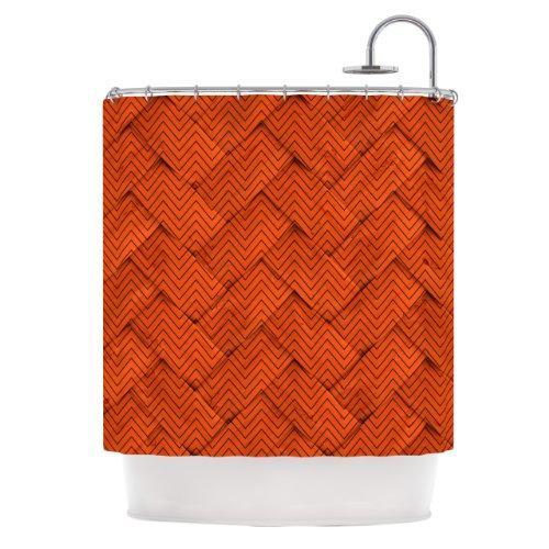 Kess InHouse KESS Original Chevron Weave Orange Shower Curtain, 69 by 70-Inch