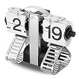Reloj de Escritorio Digital cob Figura de Tank (Alarma de Mesa, Auto Flip, Tipo Libra, Regalo y Decoración para Hogar) - Plateado