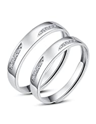 RM Jewellers CZ 92.5 Sterling Silver Cubic Zirconia Promise Couple Band For Men And Women