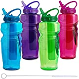 Cool Gear Ez Freeze Water Bottle, 32oz, Solstice - BPA Free - PVC Free - Phthalates Free, Includes Switx Straw... - B00SOPBYP8