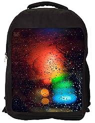 Snoogg Abstract Traffic Light Backpack Rucksack School Travel Unisex Casual Canvas Bag Bookbag Satchel