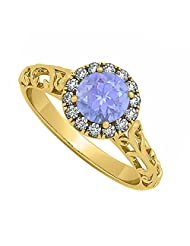 Halo Filigree Engagement Ring With Tanzanite And CZ In 18K Yellow Gold Plated Vermeil 0.66 CT TGW