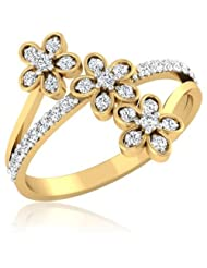 0.29 CT 14K Yellow Gold Over Sterling White CZ Diamond Flora Ring For Women's