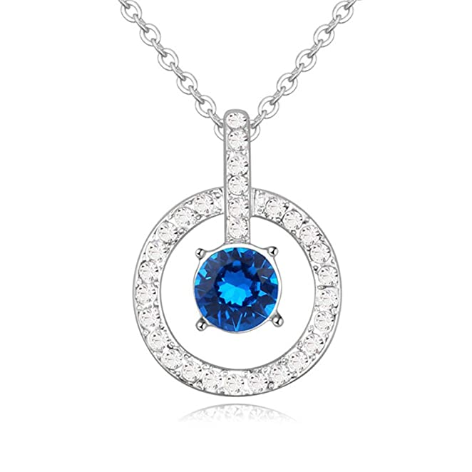 RUINUO Women`s Minimalist `Interior Monologue` Series Austrian Crystal Pendant Necklace (Blue)