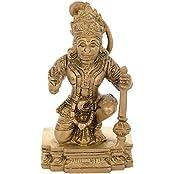 "Kapasi Handicrafts Brass Lord Hanumanji / Bajrangbali Sitting Idol Statue ( 2.5"" X 2"" X 4.25"" Inches )"