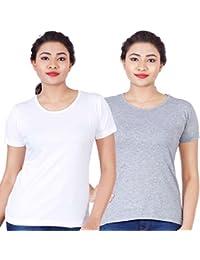 Fleximaa Women's Cotton Round Neck T-Shirt Plain (Pack Of 2) - White & Grey Milange Colors.