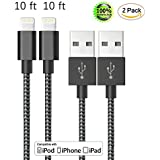 ZTeanok IPhone Cable 2Pack 10FT Extra Long Nylon Braided Cord Lightning Cable To USB Charging Charger For IPhone 7 7 Plus 6S 6S Plus SE 5S 5 IPad IPod Nano 7 Black White 10FT