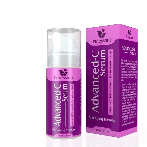 Advanced 20% Vitamin C Serum - With Vitamin E + Hyaluronic Acid Serum 1oz   All Natural Anti Aging Serum That...
