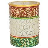 Shubh Din Marble Meenakari Work Round Shaped Marble Pen Holder (10 Cm X 7 Cm X 10 Cm)