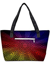 Pack Of 2 Abstract Sun Rays Combo Tote Shopping Grocery Bag With Coin Pencil Purse