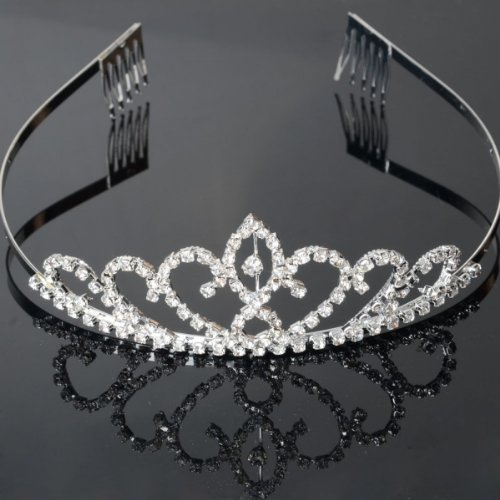 USA Seller Flower Style Tiara Crown Headband Comb Pin Charming Rhinestone Wedding Bridal Bride Party Birthday...