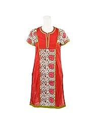 Pooja Multi Color Kashida Cotton Straight Kurti For Women - B00TU0LOT2
