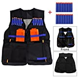 Yalulu Kids Childrens Elite Tactical Vest with 20pcs Blue Soft Foam Darts for Nerf Gun N-strike Elite Series Not Including 2 Clips