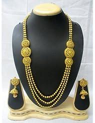 Designer & Traditional Golden Mala Set With Golden Ball Earrings Beautiful Trendy Jewellery