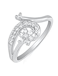 Mahi Rhodium Plated Endearing Turn Finger Ring With CZ For Women FR1100621R