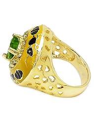 9.50 Grams Green & White Cubic Zirconia Gold Plated Brass Yellow & Black Enamel Ring