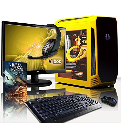 """VIBOX Warrior Gaming PC Computer Paket 4.40 - mit WarThunder Spiel Gutschein, 22"""" Monitor, Gamer Tastatur & Mouse (4,0GHz AMD FX Hexa-Core CPU, Radeon R7 370, 8GB RAM, 2TB Festplatte, Wasserkühler, Ohne Windows Betriebssystem)"""