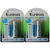 Uniross Ni-MH AA Rechargeable Battery 2100 Mah Set Of 2 Combo Pack