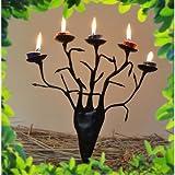 Chinhhari Arts Tribal Wrought Iron Tree Candle Stand ( Black, 27.94 Cm X 25.4 Cm X 7.62 Cm )